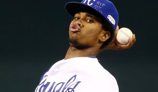 Kansas City Royals pitcher Yordano Ventura throws during the first inning of Game 6 of baseball's World Series against the San Francisco Giants Tuesday, Oct. 28, 2014, in Kansas City, Mo. (AP Photo/Tannen Maury, Pool)