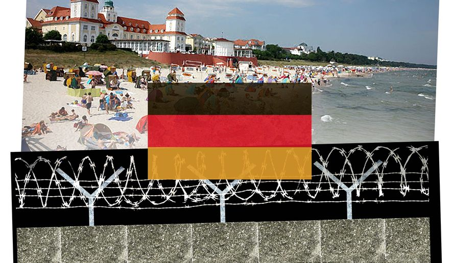 Illustration on reality and memory in Germany on the 25th anniversary of the fall of the Berlin Wall. (By Alexander Hunter/The Washington Times)
