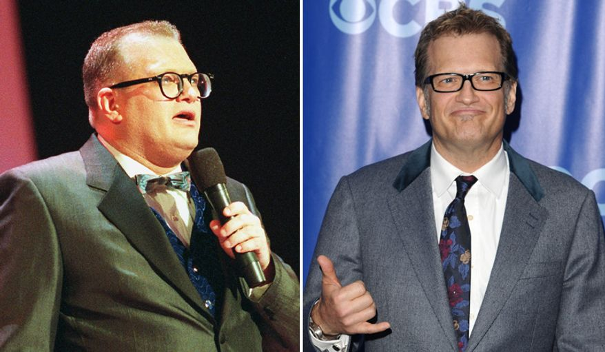 Comedian and game show host Drew Carey seen in a photo from from 1998, left and a more recent photo after losing weight.