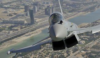 A Eurofighter Typhoon flies over Abu Dhabi. (eurofighter.com) **FILE**