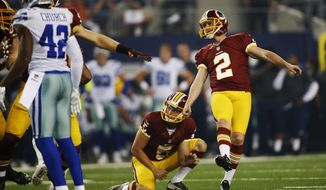 Washington Redskins kicker Kai Forbath (2) watches his kick go through the uprights for an extra point during the first half of an NFL football game against the Dallas Cowboys, Monday, Oct. 27, 2014, in Arlington, Texas. Washington won 20-17 in overtime. (AP Photo/Tim Sharp)