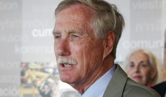Sen. Angus King, Maine independent, speaks in Portland, Maine on Aug. 18, 2014. (Associated Press) **FILE**