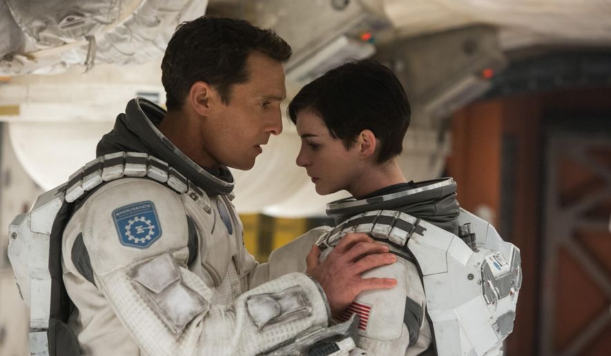 "This photo released by Paramount Pictures shows, Matthew McConaughey, left, and Anne Hathaway, in a scene from the film, '""Interstellar,"" from Paramount Pictures and Warner Brothers Pictures, in association with Legendary Pictures. (AP Photo/Paramount Pictures, Melinda Sue Gordon)"
