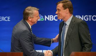 Incumbent Democratic Sen. Mark Warner (right) holds a lead over Republican challenger Ed Gillespie. (Associated Press)