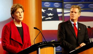 Despite having only taken up residency in New Hampshire less than a year ago, former Republican Massachusetts U.S. Sen. Scott Brown (right) is all but poised to next week dethrone Democratic Sen. Jeanne Shaheen, whom Mr. Brown has skillfully tied to what he claims are the failed national policies of President Obama. (Associated Press)
