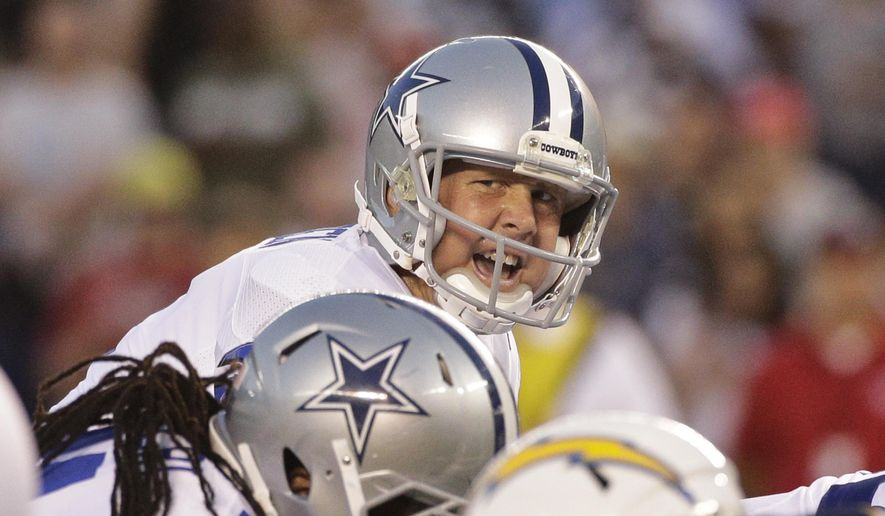 FILE - In this Aug. 7, 2014, file photo, Dallas Cowboys quarterback Brandon Weeden calls out instructions at the line of scrimmage during the first half of a preseason NFL football game against the San Diego Chargers  in San Diego. Weeden waits to see if he will start Sunday against Arizona with Romo nursing his third back injury in 18 months. (AP Photo/Jae C. Hong, File)