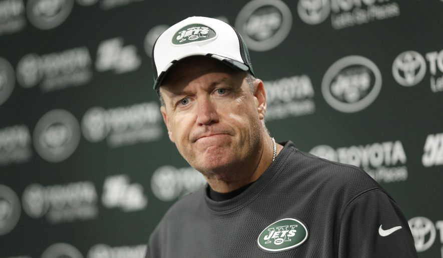 New York Jets coach Rex Ryan speaks during an NFL football news conference in Florham Park, N.J., Monday, Oct. 27, 2014. (AP Photo/Seth Wenig)