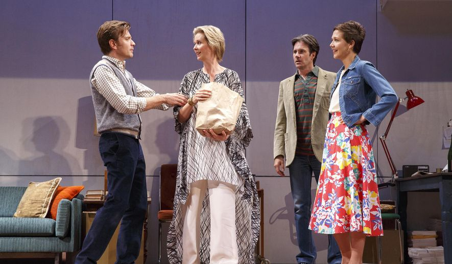 "This 2014 photo provided by Roundabout Theatre Company shows, from left, Ewan McGregor, Cynthia Nixon, Josh Hamilton and Maggie Gyllenhaal, in a scene from Tom Stoppard's play, ""The Real Thing,"" in New York. McGregor and Gyllenhaal are making their Broadway debut as lovers in the play which opens Thursday, Oct. 30, 2014, at the American Airlines Theater in New York.  (AP Photo/Roundabout Theatre Company, Joan Marcus)"
