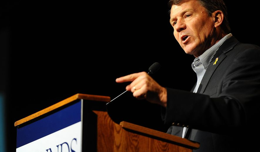 Mike Rounds, Republican candidate for U.S. Senate, speaks during a rally at the Ramkota Exhibit Hall in Sioux Falls, S.D. on Thursday, Oct. 30, 2014. (AP Photo/Argus Leader, Jay Pickthorn)