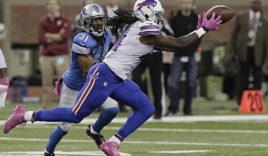 ADVANCE FOR WEEKEND EDITIONS, NOV. 1-2 - FILE - In this Oct. 25, 2014, file photo, Buffalo Bills rookie wide receiver Sammy Watkins (14) catches a 20-yard pass to set up a 56-yard game-winning field goal as Detroit Lions cornerback Rashean Mathis (31) closes in for a tackle in the fourth quarter of an NFL football game  in Detroit. Rookies, especially those selected high in the draft, not only are given a chance to prove themselves but are expected to contribute immediately. (AP Photo/Duane Burleson, File)