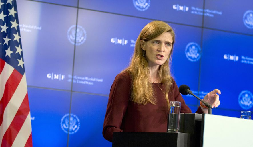 The U.S. Ambassador to the United Nations Samantha Power speaks during a lecture regarding the Ebola virus at the Residence Palace in Brussels on Thursday, Oct. 30, 2014. Power, who recently traveled to the Ebola-infected countries of Liberia, Guinea and Sierra Leone, is trying to draw support for more international aid in the stricken areas.  (AP Photo/Virginia Mayo)