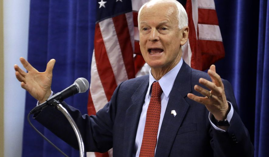 Oregon Republican gubernatorial candidate Dennis Richardson speaks during a press conference in Portland, Ore., Thursday, Oct. 30, 2014.  Richardson is running against Democratic incumbent Gov. John Kitzhaber in Tuesdays election.(AP Photo/Don Ryan)
