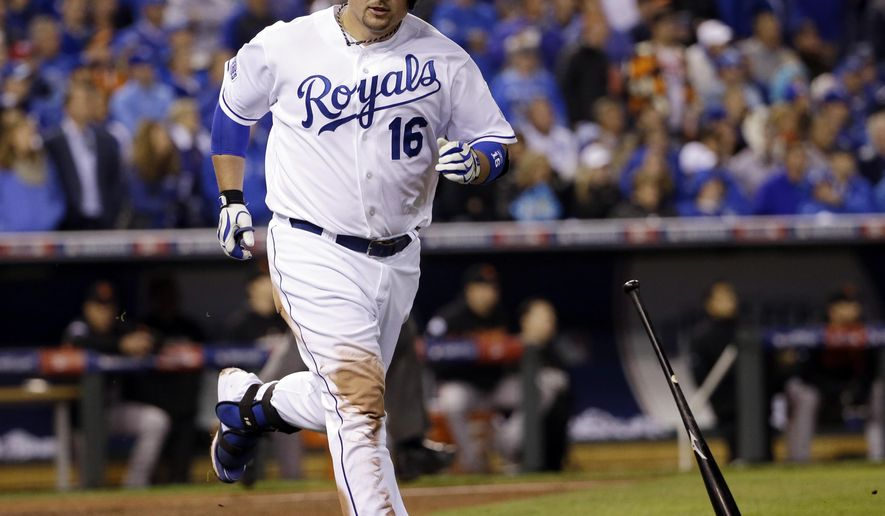 Kansas City Royals' Billy Butler tosses his bat after striking out during the sixth inning of Game 7 of baseball's World Series against the San Francisco Giants Wednesday, Oct. 29, 2014, in Kansas City, Mo. (AP Photo/David J. Phillip)