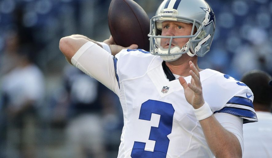 "FILE - In this Aug. 7, 2014, file photo, Dallas Cowboys quarterback Brandon Weeden throws during warmups for a preseason NFL football game against the San Diego Chargers in San Diego. Weeden had led scoring drives on the only two possessions Tony Romo missed against Washington when the Dallas starter tapped his backup on the shoulder and said, ""Hey man, hell of a job. I'm going back in.""(AP Photo/Jae C. Hong, File)"