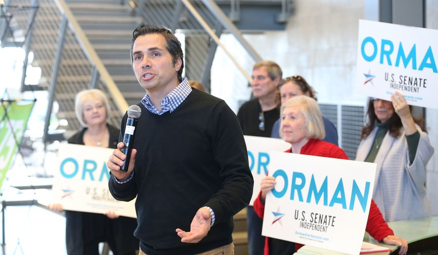Greg Orman, the Independent candidate for U.S. Senate, speaks during a campaign stop at the National Center for Aviation Training, Thursday, Oct. 30, 2014, in Wichita, Kan. Orman is running against incumbent Republican Sen. Pat Roberts. (AP Photo/The Wichita Eagle, Bo Rader)