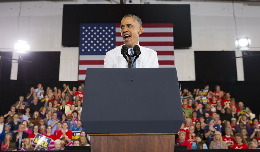 President Barack Obama speaks during a campaign rally for Democratic gubernatorial candidate Rep. Mike Michaud in Portland, Maine, Thursday. (AP Photo/Evan Vucci)
