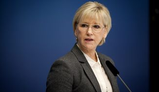 Sweden's Foreign Minister Margot Wallstrom speaks during a news conference Thursday, Oct. 30, 2014, at the government building Rosenbad, in Stockholm, after Sweden's new government officially recognized a Palestinian state. (AP Photo/Annika af Klercker)