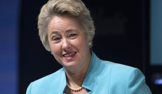 Houston Mayor Annise Parker participates in the Sixth Annual Washington Ideas Forum in Washington, Thursday, Oct. 30, 2014. The forum is presented by the Aspen Institute  and The Atlantic at the Harman Center for the Arts. (AP Photo/Cliff Owen)