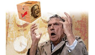 Peter Finch Mad as Hell Illustration by Greg Groesch/The Washington Times