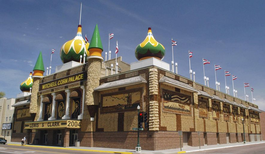 FILE - This May 6, 2004 file photo shows the Corn Palace in Mitchell, S.D. The man who was tabbed to be the next director of the tourist attraction has withdrawn from consideration. Steve Koch with Agile Manufacturing informed Mayor Ken Tracy on Friday, Oct. 31, 2014, that he had changed his mind about taking the job. Tracy said earlier this week that Koch had accepted the job, and the City Council was to make it official Monday. (AP Photo/Doug Dreyer, File)