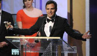 Mark Ruffalo accepts the humanitarian award for his work with Water Defense at the BAFTA Los Angeles Britannia Awards at the Beverly Hilton Hotel on Thursday, Oct. 30, 2014, in Beverly Hills, Calif. (Photo by Chris Pizzello/Invision/AP)