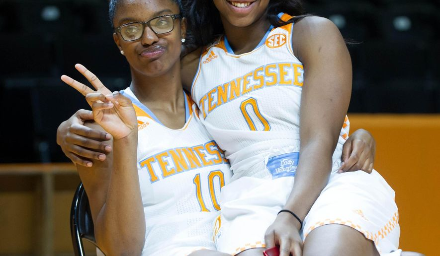 Tennessee's Diamond DeShields, left, and Jordan Reynolds pose during college basketball media day, Wednesday, Oct. 29, 2014 in Knoxville, Tenn. (AP Photo/The Knoxville News Sentinel, Saul Young)