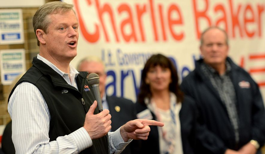 Massachusetts Republican gubernatorial candidate Charlie Baker, speaks during a rally at The Cedars in Springfield, Mass., Saturday, Nov. 1, 2014. (AP Photo/The Republican, Dave Roback)