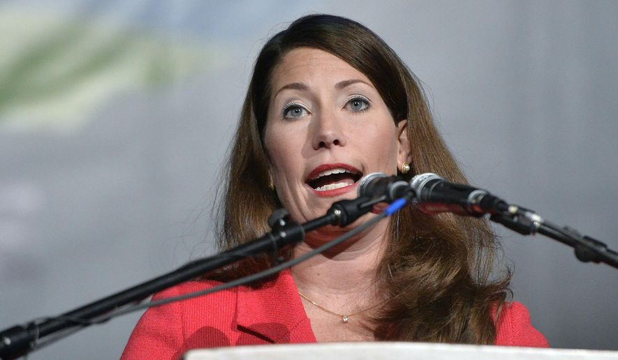 Former Kentucky democratic senatorial candidate Alison Lundergan Grimes addresses a group of supporters during a rally in Highland Heights, Ky., Saturday, Nov. 1, 2014. (AP Photo/Timothy D. Easley) ** FILE **