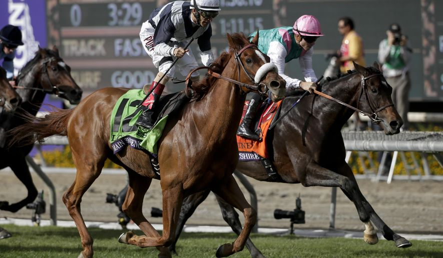 Jockey John Velazquez, left, rides Main Sequence to victory past Flintshire with jockey Maxime Guyon aboard at the Breeders' Cup Turf horse race at Santa Anita Park Saturday, Nov. 1, 2014, in Arcadia, Calif. (AP Photo/Jae C. Hong)