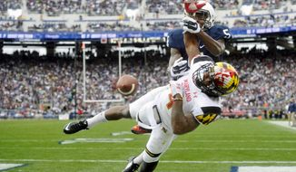 Maryland's William Likely breaks up a pass in the end zone intended for Penn State's DaeSean Hamilton during the the first half of an NCAA college football game at Beaver Stadium, Saturday, Nov. 1, 2014, in State College, Pa. (AP Photo/York Daily Record,  Chris Dunn)  YORK DISPATCH OUT