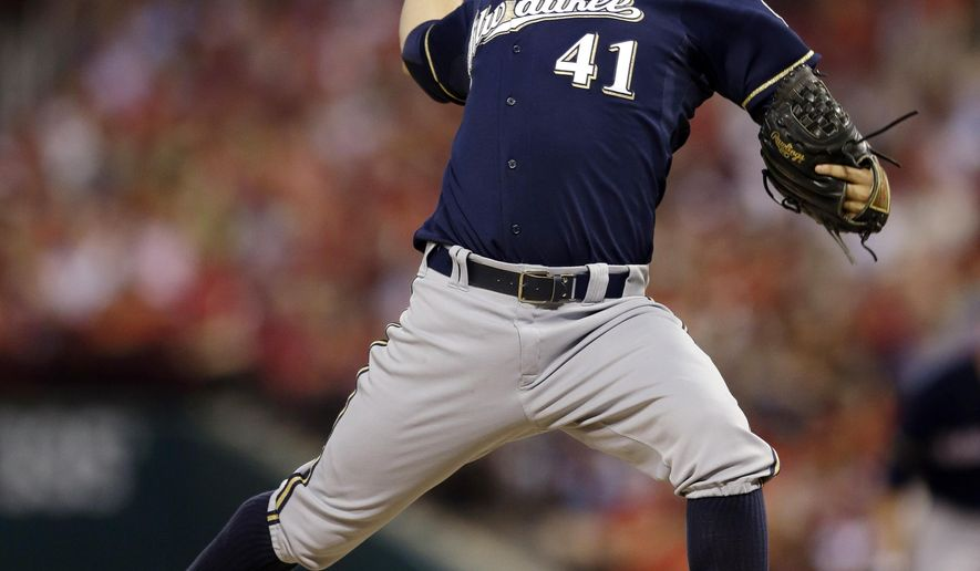 FILE - In this Aug. 2, 2014, file photo, Milwaukee Brewers starting pitcher Marco Estrada throws during the sixth inning of a baseball game against the St. Louis Cardinals in St. Louis. Adam  Lind was traded from the Toronto Blue Jays to the Brewers on Saturday, Nov. 1, 2014, for Estrada. (AP Photo/Jeff Roberson, File)