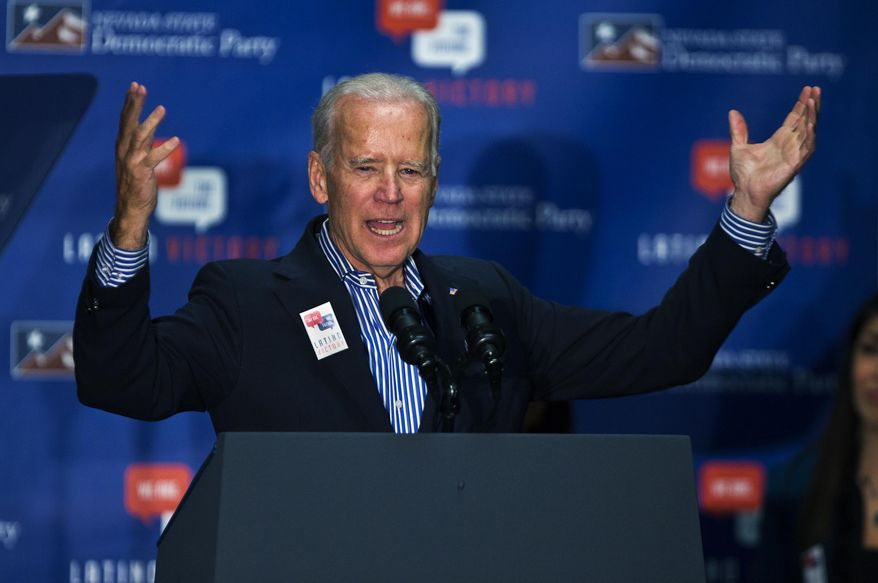 Vice President Joe Biden speaks during a rally in support of Nevada Democrats at the Plumbers and Pipefitters Joint UA Local 525 in Las Vegas Saturday, Nov. 1, 2014. (AP Photo/Las Vegas Sun, L.E. Baskow)