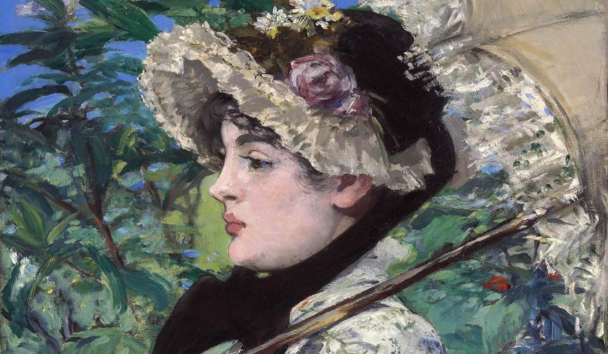 """FILE- This undated file photo provided by Christie's shows French Impressionist Edouard Manet's """"Spring,"""" which could set a new record for the artist when it is auctioned on Nov. 5, 2014, by Christie's in New York. Manet painted actress Jeanne Demarsy in a floral dress and bonnet in 1881 as an allegory of spring. (AP Photo/Christie's, File)"""