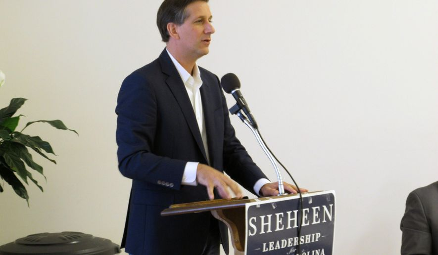 Democratic candidate for governor Vincent Sheheen speaks to voters at New Zion AMC Church, Saturday, Nov. 1, 2014, in Bishopville, S.C. Sheheen is crisscrossing South Carolina with the goal of getting black voters to the polls. (AP Photo/Jeffrey Collins)