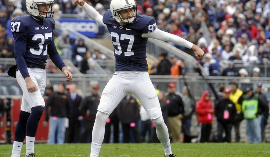 Penn State kicker Sam Ficken reacts after kicking his third field goal against Maryland during the the first half of an NCAA college football game at Beaver Stadium, Saturday, Nov. 1, 2014, in State College, Pa. (AP Photo/York Daily Record,  Chris Dunn)  YORK DISPATCH OUT