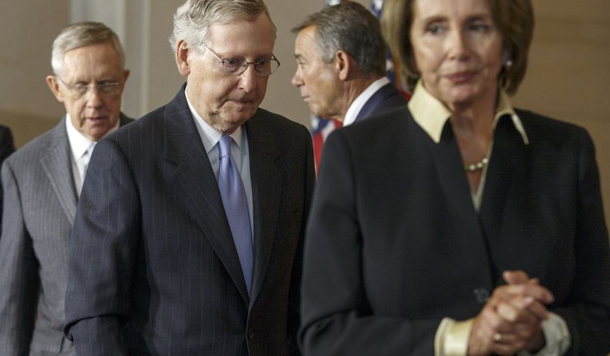 Senate Majority Leader Harry Reid, Senate Minority Leader Mitch McConnell, House Speaker John Boehner and House Minority Leader Nancy Pelosi. (AP Photo/J. Scott Applewhite/File)