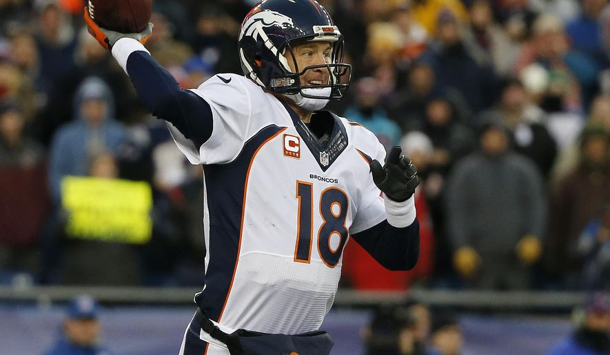 Denver Broncos quarterback Peyton Manning passes against the New England Patriots in the first half of an NFL football game on Sunday, Nov. 2, 2014, in Foxborough, Mass. (AP Photo/Elise Amendola)
