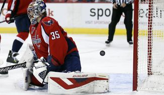 Washington Capitals goalie Justin Peters (35) pauses after a goal by Arizona Coyotes left wing Lauri Korpikoski, from Finland, bounces back out of the net in the second period of an NHL hockey game, Sunday, Nov. 2, 2014, in Washington. (AP Photo/Alex Brandon)