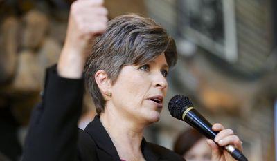 Republican Senate candidate Joni Ernst is pulling ahead of rival Bruce Braley in the Iowa race. (AP Photo/Nati Harnik)