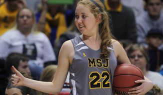 Mount St. Joseph's Lauren Hill gives thumbs up as she holds the game ball during her first NCAA college basketball game against Hiram University at Xavier University in Cincinnati, Sunday Nov 2, 2014. The NCAA allowed Mount St. Joseph's season opener to be moved up to Nov. 2, so that Hill, who has an inoperable brain tumor, to be able to play in a college basketball game. (AP Photo/Tom Uhlman)