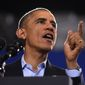 President Barack Obama speaks at Central High School in Bridgeport, Conn. Sunday, Nov. 2, 2014.  President Obama visited Bridgeport to rally the heavily Democratic city in an effort to re-elect Democrat Gov. Dannel P. Malloy in Tuesday's midterm election where he will rematch with GOP candidate Tom Foley. (AP Photo/The News-Times, Tyler Sizemore, Pool)