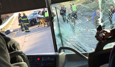 Washington Redskins wide receiver Pierre Garcon posted this photo on Sqor Sports on Sunday, November 2, 2014, showing a cracked windshield on the front of one of the team's buses as it headed to TCF Bank Stadium for a game against the Minnesota Vikings. An accident on Interstate 94 East in Minneapolis led to two buses colliding, with a second bus carrying players hitting the back of a first bus carrying the team's coaches, executives and other staffers.