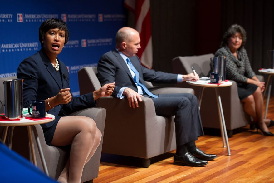 Seen here at a D.C. mayoral candidates debate in September, (from left) D.C. Council members Muriel Bowser, Ward 4 Democrat; and David A. Catania, at-large independent; and Carol Schwartz, a former council member running as an independent, now await the voters' verdict on Tuesday. (Associated Press)