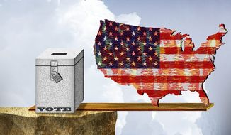 Illustration on the importance of the 2014 midterm elections by Alexander Hunter/The Washington Times