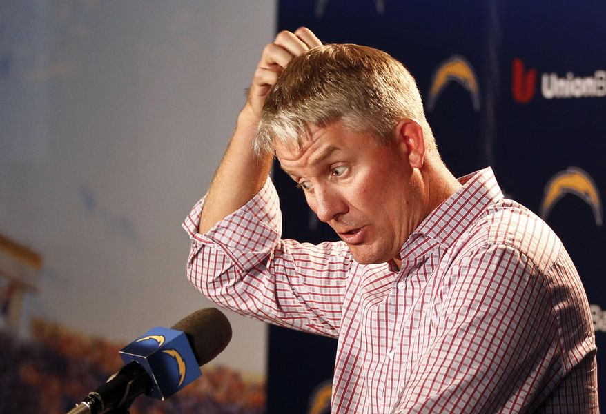 San Diego Chargers coach Mike McCoy talks about the teams' three game losing streak including Sunday's 37-0 loss to the Miami Dolphins during an NFL football news conference, Monday, Nov. 3, 2014, in San Diego. (AP Photo/Lenny Ignelzi)