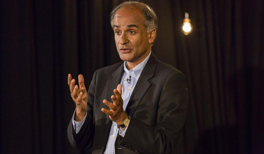 In this Aug. 6, 2014 photo provided by TED, Pico Iyer speaks at the TED@250, The Non-Fiction Edition, TED head quarters, in New York. Iyer has spent the past several decades on the move, incessantly hopping from one far-flung destination _ Ethiopia, Morocco, Indonesia _ to another. But the globetrotting travel writer is now convinced the most exciting place to go is nowhere at all. (AP Photo/TED, Ryan Lash)