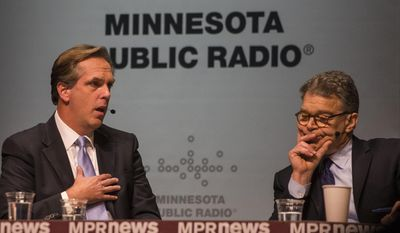 Mike McFadden, left,  and incumbent  Sen. Al Franken, D-Minn.,  meet at the Fitzgerald Theater in St. Paul, Minn. on Sunday, Nov. 2, 2014, in their final debate before the election for the U.S. Senate seat.   (AP Photo/Minnesota Public Radio, Bridget Bennett)