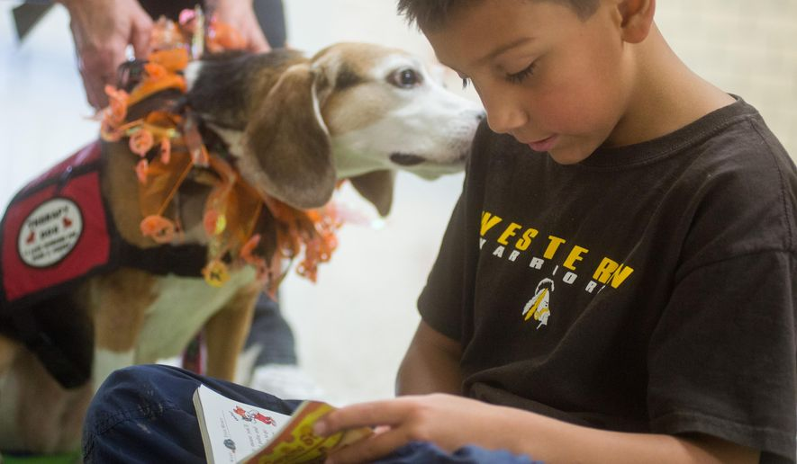 "In this Oct. 24, 2014 photo, Molly sniffs second-grader Cole Scott as he reads aloud during the ""Paws For a Book: Readers Rock"" program at Mackensen Elementary in Monitor Township, Mich. (AP Photo/The Bay City Times, Yfat Yossifor) LOCAL TV OUT; LOCAL INTERNET OUT"