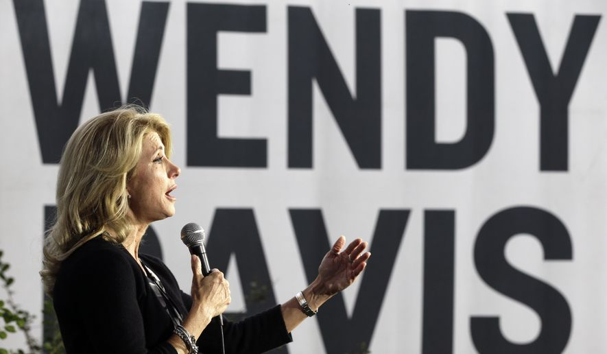 Texas Democratic gubernatorial candidate Wendy Davis speaks to supporters at a campaign event, Monday, Nov. 3, 2014, in Houston. (AP Photo/Pat Sullivan)