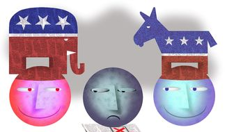 Illustration on the lack of voter participation by Alexander Hunter/The Washington Times